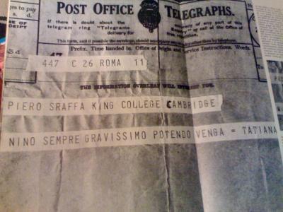 GRAMSCI: EL  TELEGRAMA DE TATIANA SCHUCHT A PIETRO SRAFFA SOBRE EL AGRAVAMIENTO DE LA SALUD DE ANTONIO GRAMSCI
