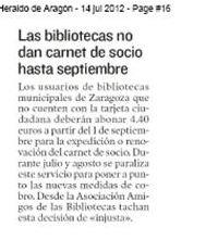 BIBLIOTECAS ZARAGOZA (X): ¡SE PREVÉ QUE COBREN POR HACERSE SOCI@S!