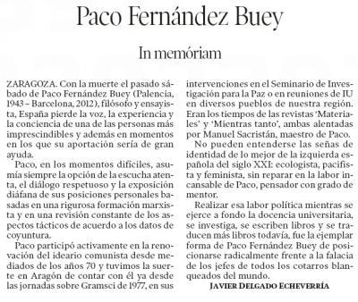 PACO FERNÁNDEZ BUEY, in memoriam